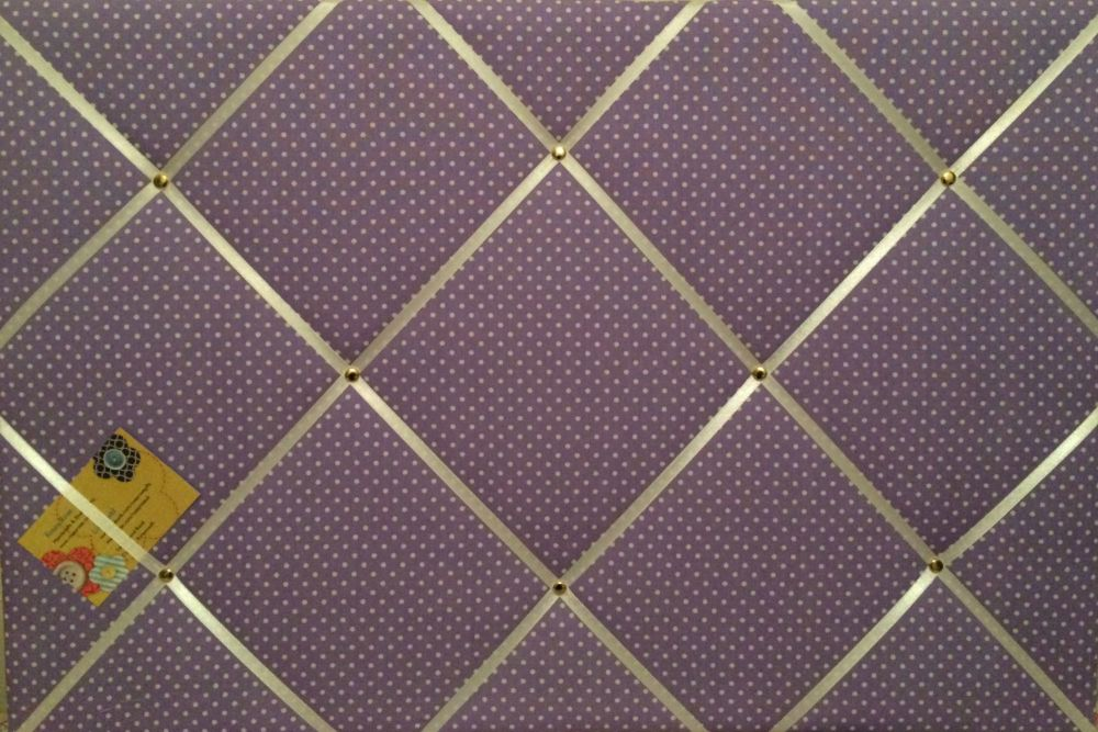 Large 60x40cm Lilac White Polka Dots Hand Crafted Fabric Notice / Pin / Mem