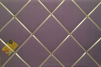 Large 60x40cm Lilac White Polka Dots Hand Crafted Fabric Notice / Pin / Memory / Memo Board