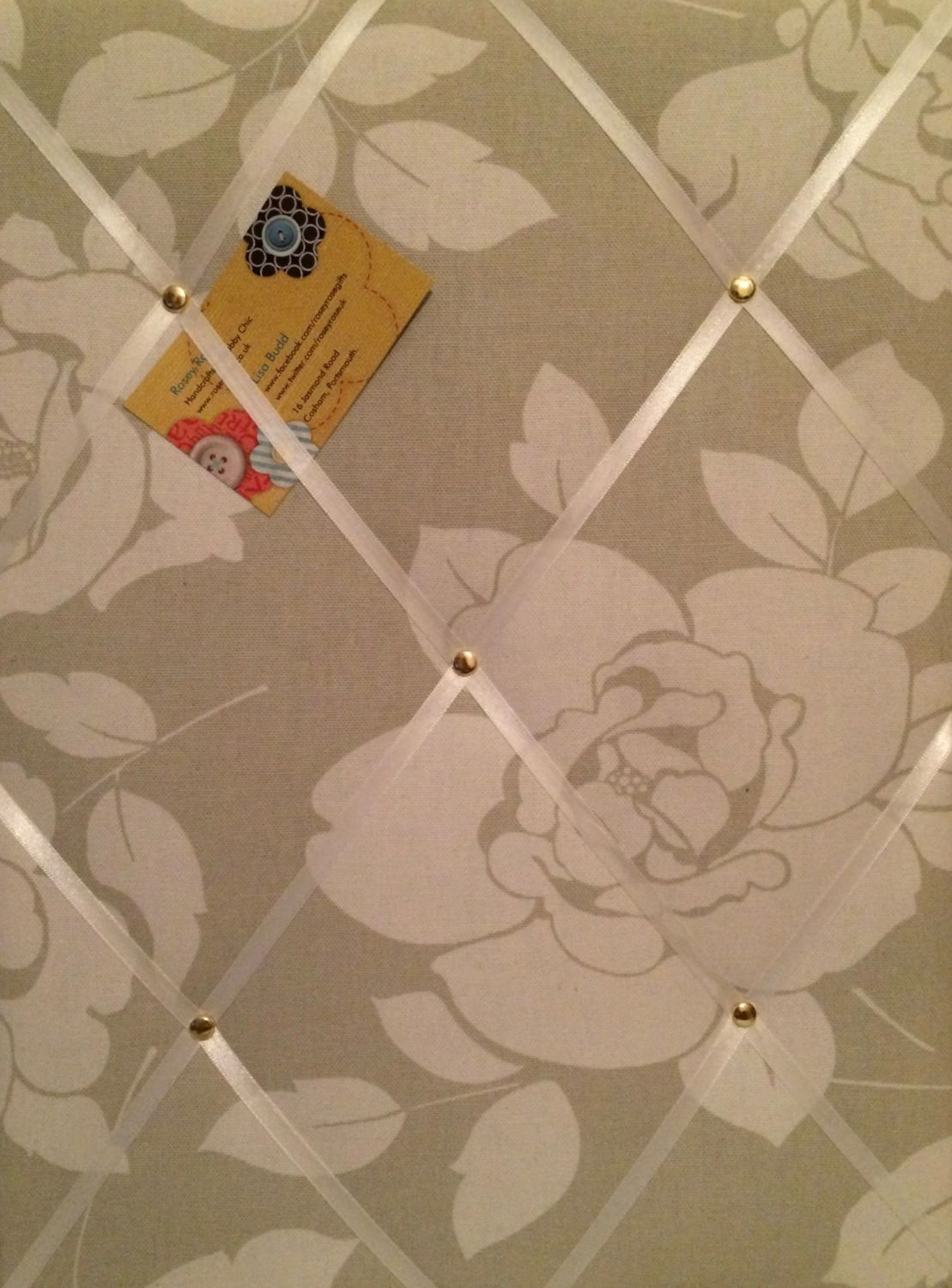 Medium 40x30cm Clarke & Clarke Meadow Taupe Floral Hand Crafted Fabric Noti