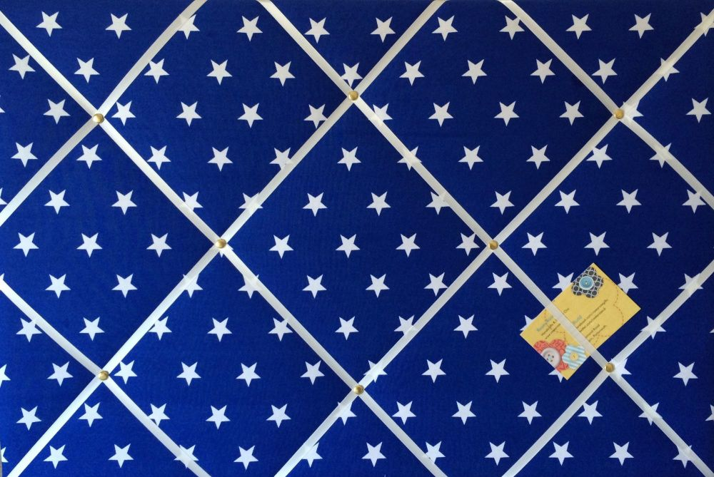 Extra Large 60x90cm Blue & White Star Print Hand Crafted Fabric Notice / Pi