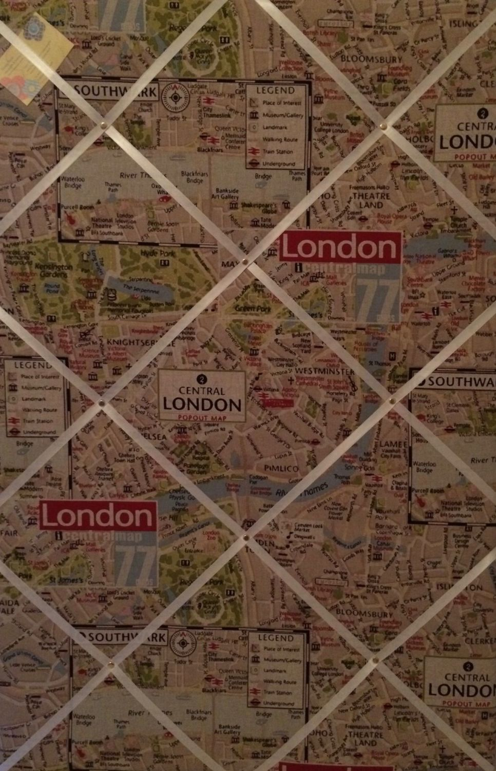 Extra Large 90x60cm London City Map Vertical Hand Crafted Fabric Notice / M
