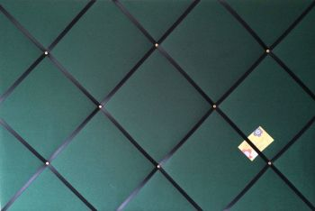 Large 60x40cm Bottle Green With Black Ribbon Hand Crafted Fabric Notice Memory Pin Memo Board