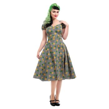 COLLECTIF Mainline Dolores Pineapple Gingham Doll Vintage 50s Inspired Dress