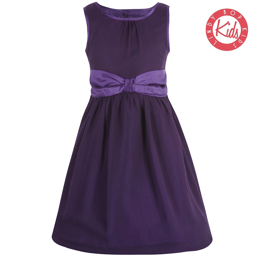 LINDY BOP Children's 'Mini Candy' Purple Vintage Style Party Dress with Bow