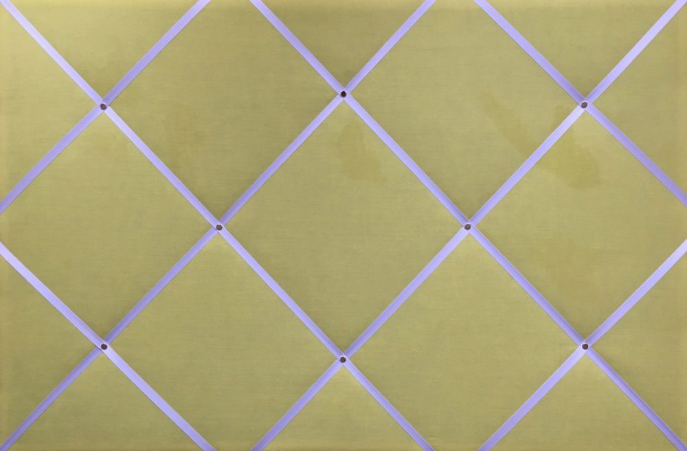 Large 60x40cm Pale Yellow White Ribbon Hand Crafted Fabric Notice / Memory
