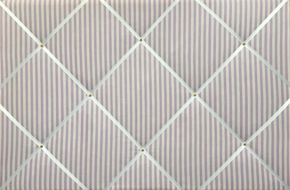 Extra Large 90x60cm Lilac & White Sunday Stripe Hand Crafted Fabric Notice