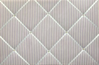 Extra Large 90x60cm Lilac & White Sunday Stripe Hand Crafted Fabric Notice / Pin / Memo / Memory Board