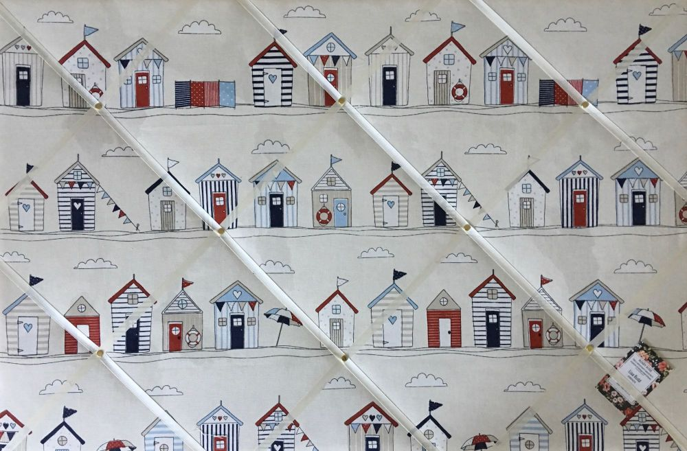 Extra Large 90x60cm Fryetts Seaside Beach Huts Hand Crafted Fabric Memory N