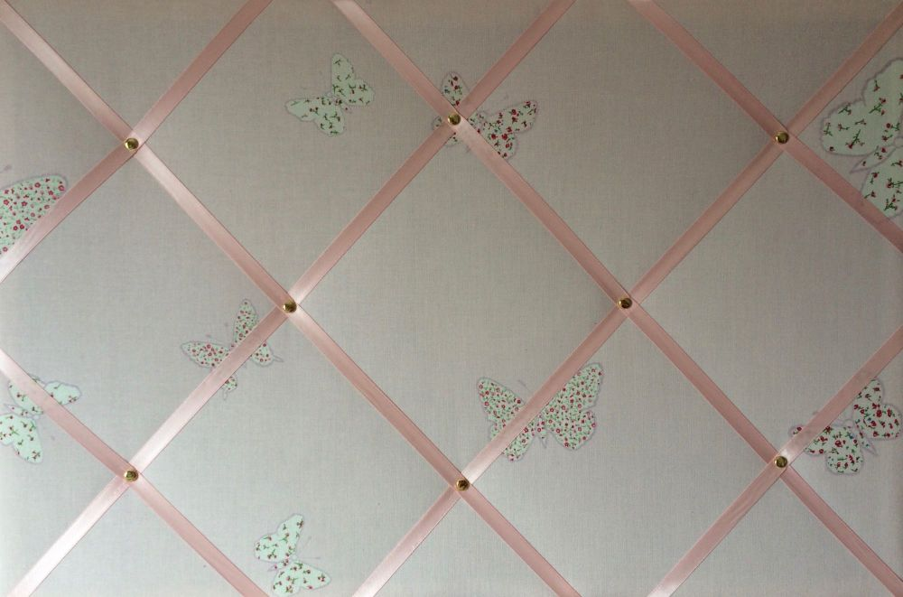 Extra Large 90x60cm Laura Ashley Pink Bella Butterfly Hand Crafted Fabric N