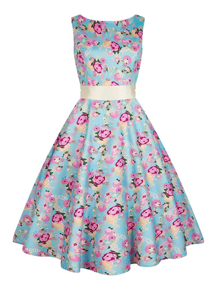 Collectif Vintage Style Margaret Peony Floral Swing Dress