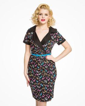 Lindy Bop Ladies Vintage / Retro Style 'Siobhan' Black Do Re Mi Deer Print Pencil Dress