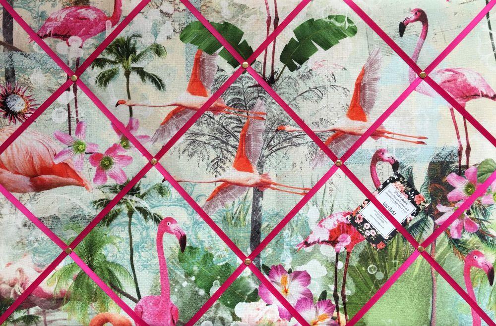 Large 60x40cm Pink Flamingo Bird Pineapple Hand Crafted Fabric Notice / Mem