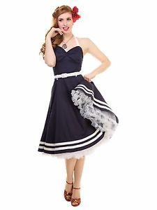 Collectif Ginger Sailor Wing Bust Nautical Navy Blue Doll Dress