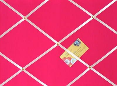 Medium Pink Hand Crafted Fabric Notice : Pin : Memo : Memory Board with whi
