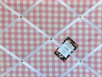 Custom Handmade Bespoke Fabric Pin / Memo / Notice / Photo Cork Memo Board With Laura Ashley Pink Gingham Check With Your Choice of Sizes & Ribbons