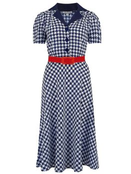 Rock N Romance Lola Shirtwaister Dress in Navy Hounds Tooth, Perfect 1950s Style With Red Belt