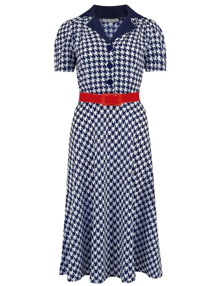Rock N Romance Lola Shirtwaister Dress in Navy Hounds Tooth, Perfect 1950s