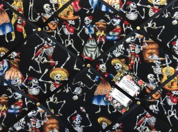 Custom Handmade Bespoke Fabric Pin / Memo / Notice / Photo Cork Memo Board With Day of the Dead Musical Skeletons With Your Choice of Sizes & Ribbons