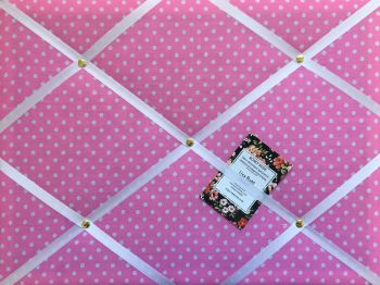 Custom Handmade Bespoke Pin / Memo / Notice / Photo Cork Memo Board With Pink & White Polka Dot Fabric With Your Choice of Sizes & Ribbons