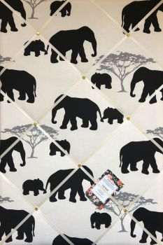 Custom Handmade Bespoke Fabric Pin / Memo / Notice / Photo Cork Memo Board With Marson Elephants With Your Choice of Sizes & Ribbons