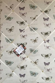Custom Handmade Bespoke Fabric Pin / Memo / Notice / Photo Cork Memo Board With Fryetts Butterfly With Your Choice of Sizes & Ribbons