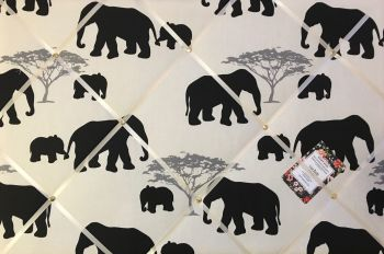 Extra Large 90x60cm Marson Grey Elephants Hand Crafted Fabric Notice / Pin / Memo / Memory Board