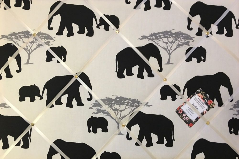 Large 60x40cm Marson Elephants Grey Hand Crafted Fabric Notice / Pin / Memo