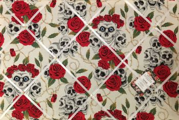 Custom Handmade Bespoke Fabric Pin / Memo / Notice / Photo Cork Memo Board With Red & White Skulls Roses & Thorns With Your Choice of Sizes & Ribbons