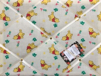 Custom Handmade Bespoke Fabric Pin Memo Notice Photo Cork Memo Board With Winnie The Pooh With Your Choice of Sizes & Ribbons