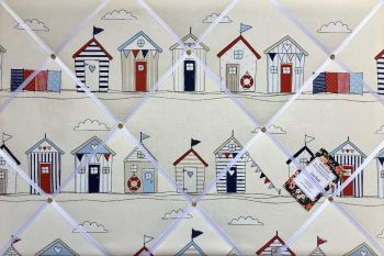 Custom Handmade Bespoke Fabric Pin / Memo / Notice / Photo Cork Memo Board With Fryetts Seaside Beach Huts Blue With Your Choice of Sizes & Ribbons