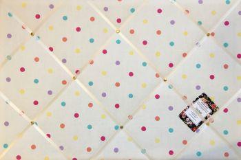 Custom Handmade Bespoke Fabric Pin Memo Notice Photo Cork Memo Board With Clarke & Clarke Sunshine Multi Colour Dotty Spot Choice of Size & Ribbon