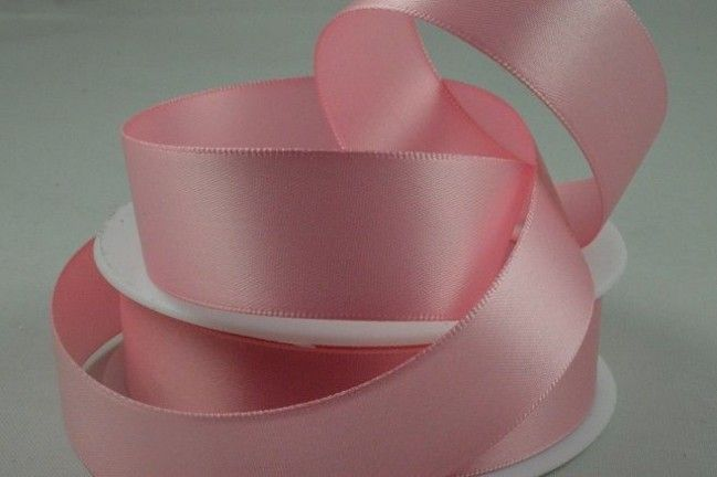 Double Sided Satin Ribbon 10mm 25 Metre Reel Or By The Metre in Baby Pink