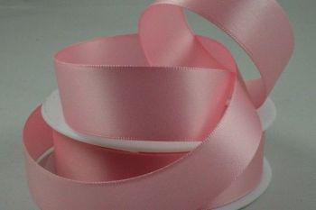 Double Sided Satin Ribbon 7mm 25 Metre Reel Or By The Metre in Baby Pink