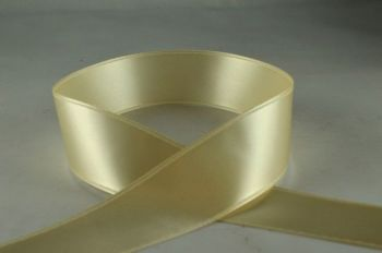 Double Sided Satin Ribbon 7mm 25 Metre Reel Or By The Metre in Ivory