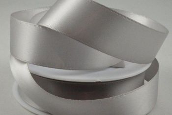 Double Sided Satin Ribbon 10mm 25 Metre Reel Or By The Metre in Light Silver