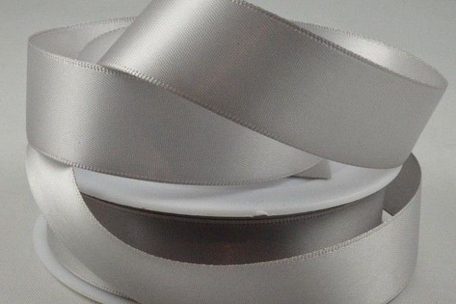 Double Sided Satin Ribbon 10mm 25 Metre Reel Or By The Metre in Light Silve