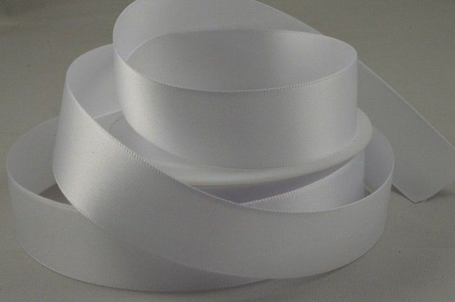 Double Sided Satin Ribbon 7mm 25 Metre Reel Or By The Metre in White