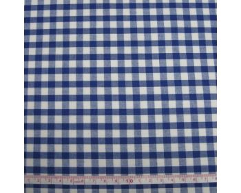 Polycotton Fabric Royal Blue 1/4 Gingham Check 44 inch By The Metre