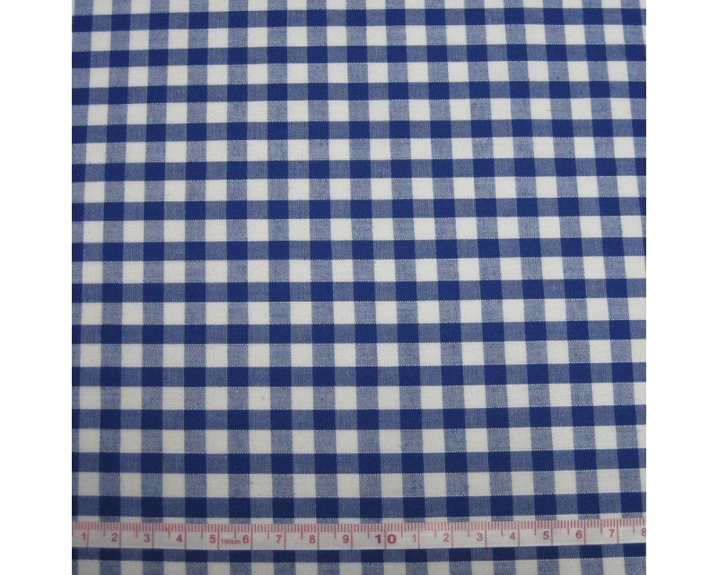 Polycotton Royal Blue 1/4 Gingham Check 44 inch By The Metre