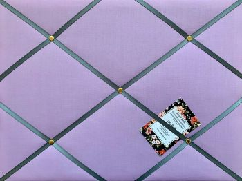 Custom Handmade Bespoke Fabric Pin / Memo / Notice / Photo Cork Memo Board With Lilac Fabric With Your Choice of Sizes & Ribbons