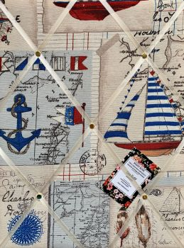 Custom Handmade Bespoke Fabric Pin / Memo / Notice / Photo Cork Memo Board With Nautical Sailing Boats Compass Map With Your Choice of Sizes & Ribbons