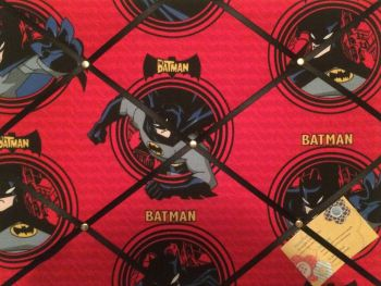 Custom Handmade Bespoke Fabric Pin / Memo / Notice / Photo Cork Memo Board With Red Batman With Your Choice of Sizes & Ribbons