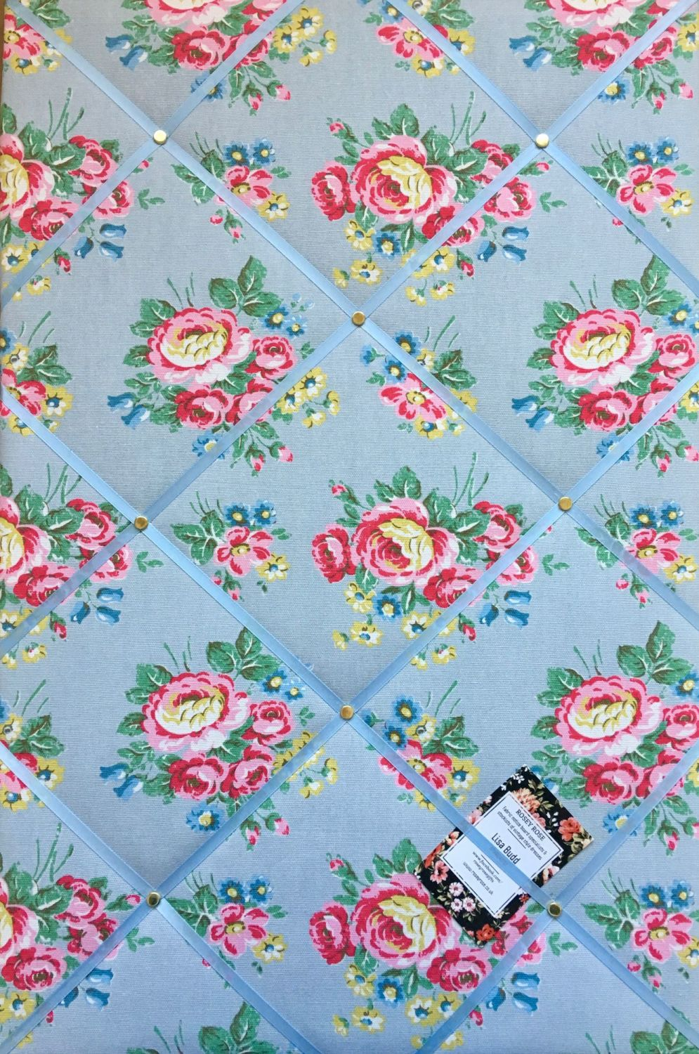 Surprise Cath Kidston Blue Flowers Handcrafted Fabric Notice Pin Memo Cork