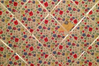 Custom Handmade Bespoke Fabric Pin / Memo / Notice / Photo Cork Memo Board With Cath Kidston Paradise Fields With Your Choice of Sizes & Ribbons
