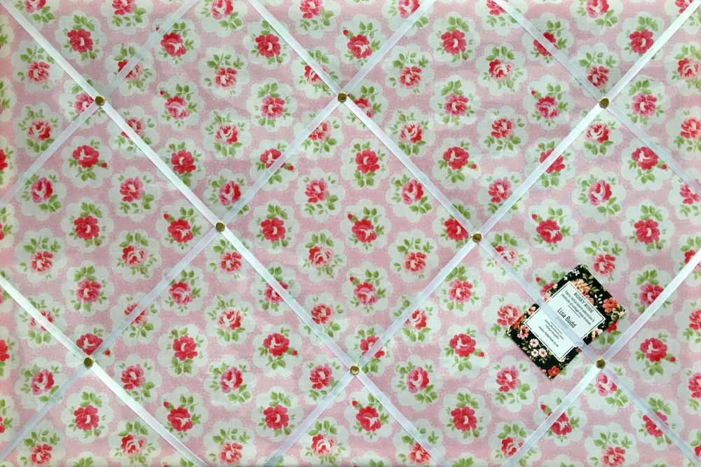 Surprise Cath Kidston Pink Flowers Handcrafted Fabric Notice Pin Memo Cork