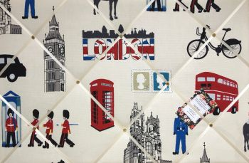Custom Handmade Bespoke Fabric Pin / Memo / Notice / Photo Cork Memo Board With Prestigious London Capital City With Your Choice of Sizes & Ribbons
