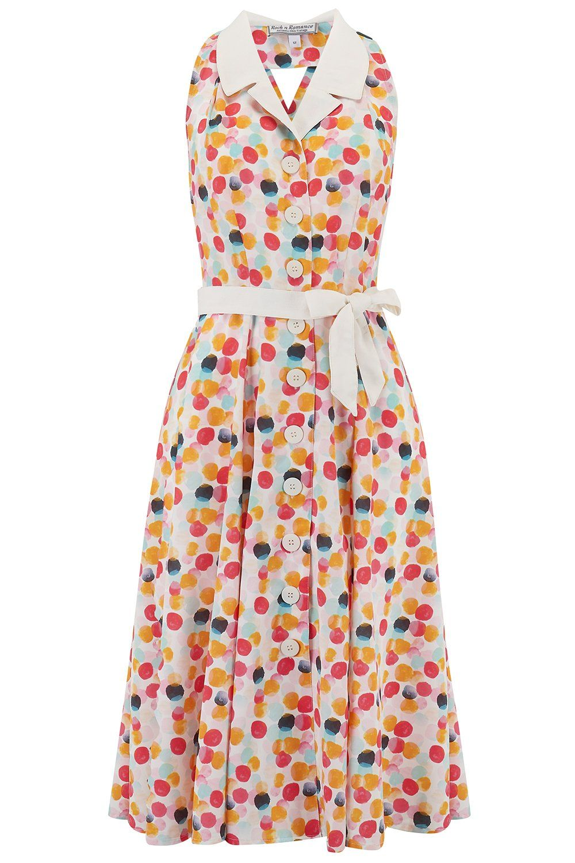 Rock n Romance Lindy Halter Dress Bubblegum Print & Contrast Collar 1950s S