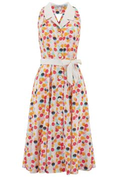 Rock n Romance Lindy Halter Dress Bubblegum Print & Contrast Collar 1950s Style