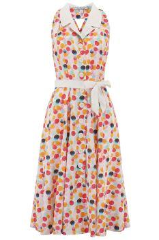 Rock n Romance Lindy Halter Dress Bubblegum Print & Contrast Collar 1950s Style