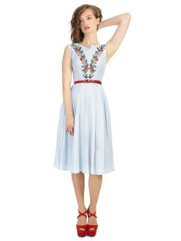 Collectif Bright & Beautiful Astrid Folk Floral Vintage 1960s Style Day Embroidered Dress